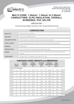 Industrial Cables Data Sheets - CBi Electric Telecom Cables (Pty